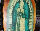 Vintage Our Lady Of Guadeloupe Shrine Wall Hanging El Salvador Handcrafted Wood Virgin Mary Shrine