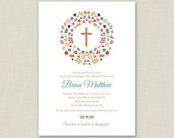 Fall Baptism Invitation / Printable Baptism Invitation