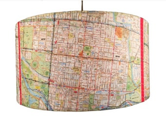 By custom order, upcycled street maps for hanging or table lighting