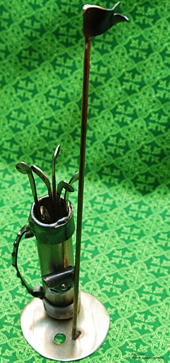 "Golf bag metal sculpture, 9"" with marker flag, recycled steel"