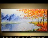 contemporary wall art,, Modern Textured Painting,Impasto  Landscape  Textured Modern Palette Knife Painting,Painting on Canvas by Chen xx97