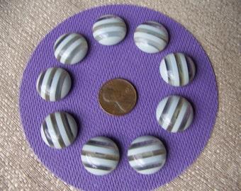 Set of 9 Vintage Plastic Stripe Shank Buttons