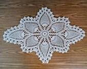 Beige Crochet Doily, Lace Pineapple Doily, Cotton Thread Table Mat
