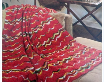 Wave Ripple Knit Afghan Pattern, Adult Throw, Lap Blanket Pattern, WAVES OF AUTUMN
