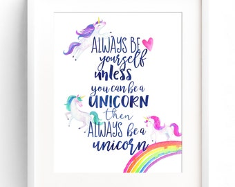 PRINTABLE Unicorn Decor Nursery Wall Art Always Be Yourself Always Be A Unicorn Watercolour Nursery Wall Decor INSTANT DOWNLOAD