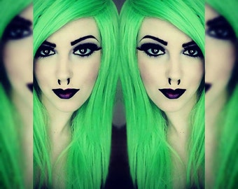 Neon Lime Green / Long Green wig, Bright Green wig, Emo Scene wig, Straight Cosplay Hair, Halloween wig, Dress Up Costume