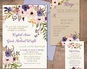 Boho Chic Wedding Invitation, lavender and purple flowers, LDS wedding, floral wedding invitation, spring wedding invite, purple and blush