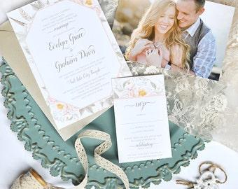 Boho Flower Wedding Invitation - Custom Wedding Invitation Set - Rustic, Feathers, Boho, Photo Invitation, Summer, New, Unique