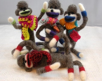 Needlefelted Mischievous Sock Monkeys