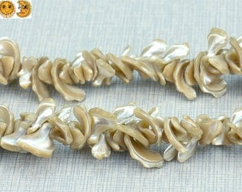 15 inch strand of Yellow MOP,mother of pearl nugget beads 19-32mm