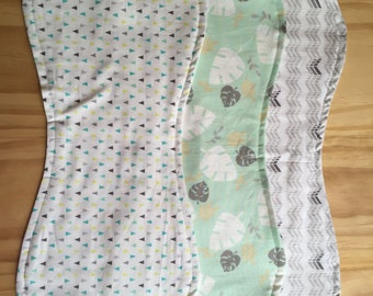 Burp Cloth Set - Gender Neutral Green & Grey Set of 3
