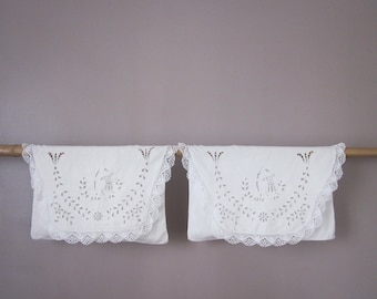 2 antique french clutch bags, Pochette, Pouch, Linge ancien, Embroidered bag, Lace, 1920, France