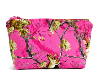 Pink Camo Makeup Bag - Pink Camo Makeup Pouch - Cosmetic Case -  Cute Makeup bag - Cosmetic Bag Zipper Pouch