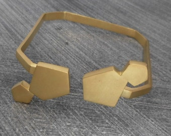 Gold Bracelet, Open Bangle, Cuff Bracelet, with 4 Pentagons. Boho, Abstract, Minimalist, Urban, 24k Plating, Trendy