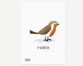 Mini bird print - robin