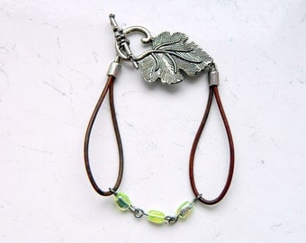Natural Green Brown Leather Light Green Opalescent Glass Beads Leaf Clasp Bracelet - Inspired by The Shannara Chronicles