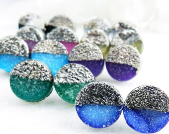 druzy earrings, druzy stud earrings, druzy studs, silver earrings, gifts for her, electroformed jewelry