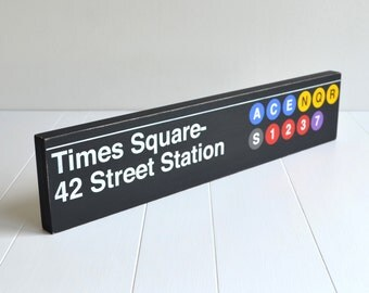 Times Square 42 Street Station Distressed Subway Sign - Hand Painted on Wood