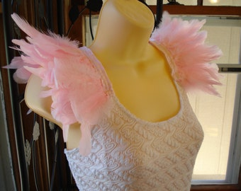 Light Pink Feather Epaulettes, Costume Wings, Shoulder Feathers, Feather Shoulder Accessories, Feathered Shoulder Wings, Light Pink Wings