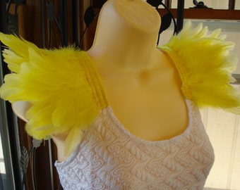 Yellow Feather Epaulettes, Costume Wings, Shoulder Feathers, Feather Shoulder Accessories, Feathered Shoulder Wings, Yellow  Wings