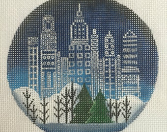 "Hand Painted Needlepoint canvas City Lights 18 count canvas 4"" Ornament"