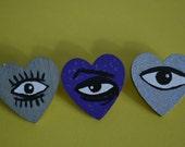 Heart Shaped Eye Pins