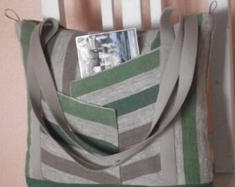 Linen tote everyday bag striped burlap washed linen teacher bag women shoulder bag zipper closure
