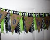 Go Hawks Burlap Bunting with Fabric Rag Tie Banner - Seattle Seahawks Football - Blue & Lime Green Polka Dots - Party Decoration, Tailgating