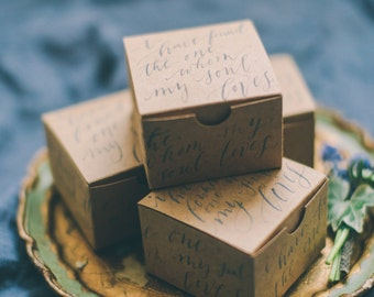 Calligraphy Favor Wedding Box Custom Quote