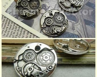 20 Watch gear charm pendant 25mm antique bronze (w395)/ antique silver (w7254) wholesale zinc alloy charms