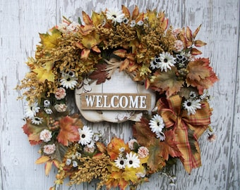 Golden Autumn Wreath, Wreath for Front Door, Autumn Fall Wreath, Country Wreath, Autumn Floral Wreath, Large Farmhouse Wreath, Welcome Sign