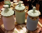 Quart Mason Jars with Glass Lids painted with L'essentiel Botanics Paint - Set of Three