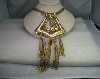 """Vintage Runway Bold Hardstone Tassel Huge Necklace/Choker by Goldette,  14"""" plus 6"""" extender"""