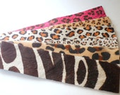 cuff bracelet blanks - mixed animal prints- hair on hide -set #2, 6 pieces
