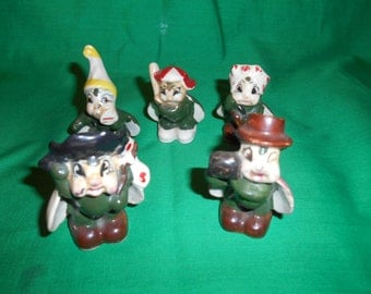Five (5) Miniature, Porcelain Figurines. Made In Japan.