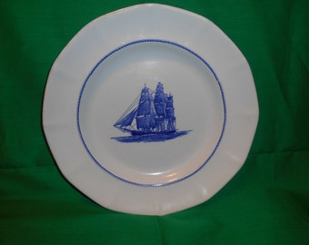 """One (1), 10 1/4"""" Dinner Plate, from Wedgwood, in the American Clipper Blue Pattern."""