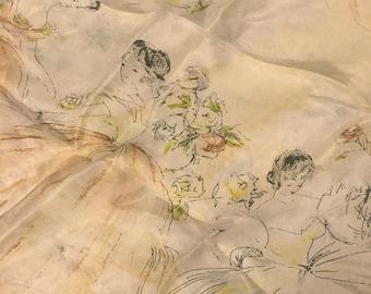 Antique Dancing Maidens Silk Scarf