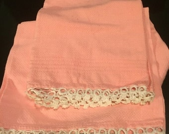 Set of 2 Pink Tea Towels with White Tatted Edges