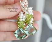 Earrings pearl,earrings sterling silvers, earrings peridote, earrings gemstone, cascade earrings, earrings green quartz, dangle earrings