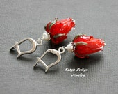 Earrings red flowers, silver earrings, Earrings glass lampwork, Earrings handmade glass, Earrings red, Earrings spring summer