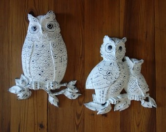 Vintage Owls, Hand Painted, Distressed, White, Black, Upcycle, Farmhouse, Plaques, Wall Decor, 3D, Rustic, Home Decor, Owl Plaques, Homco