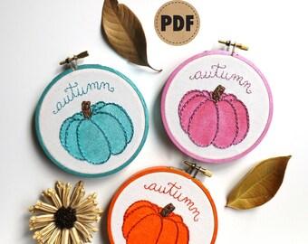 Painted Pumpkin PDF Embroidery Pattern, Orange Pink & Aqua Pumpkin Pattern, Autumn Decor DIY Crafts, Digital Download Embroidery Hoop Art