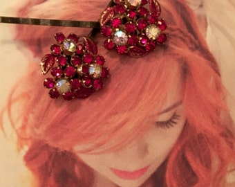 Decorative Hair Pins Rhinestone 1950's Weiss Red AB Aurora Borealis Blossom Flower Czech Filigree Bridal