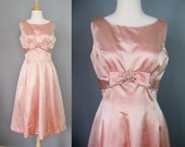 "Pink Satin Dress / Vtg 60s / ""Debonair"" Bridesmaid Sleeveless Pink Satin Dress with Rhinestone Bow"