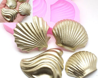 Sea Shells Set Siilicone mold 455L* Cake Decoration Cupcake topping Chocolate Candy fimo Polymer Clay Jewllery diy mold BEST QUALIRY