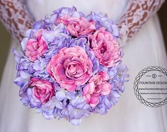 Purple Hydrangea and Mauve Ranunculus Bouquet (Premium)