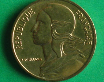 1964, 1968, 1974, 1975, 1992, French coin, 20 cent Brass coin, Republique Francaise, collectors coin