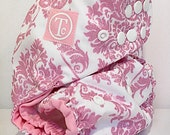 Pink Glitter Damask - Diaper Cover