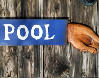 POOL SIGN, Handcrafted, wood