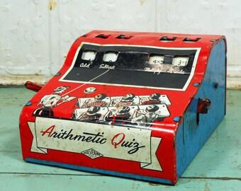 Vintage Wolverine Arithmetic Quiz Red Metal Math Toy
